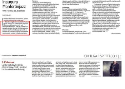 Articolo su La Repubblica per Jazz Around You 2019
